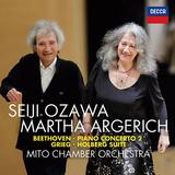マルタ・アルゲリッチ(Martha Argerich)、小澤征爾『ベートーヴェン:ピアノ協奏曲第2番、モーツァルト:ディヴェルティメントK136~第1楽章、グリーグ:組曲《ホルベアの時代から》』再び実現した夢の共演を完全収録